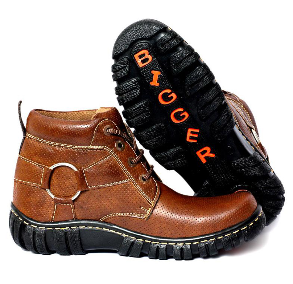 robust brown dotted leather boots syb 495 price in