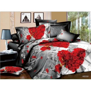 Attractive 3D Bedsheets Grey And Red Bedsheet
