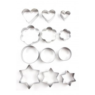 Home Value 12pc Metal Cookie Cutters: 3 Stars Shape, 3 Flowers Shape, 3 Round Shape, 3 Hearts Shape price in Pakistan
