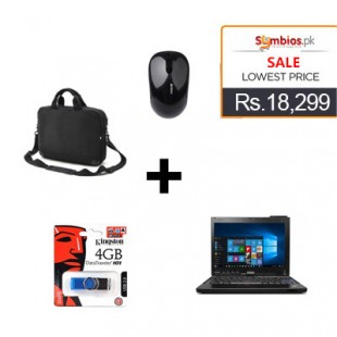 Deal 9   Lenovo X201 Thinkpad Touch Laptop (Core i7, 4GB RAM, 320GB HDD, Webcam, Slightly Used) + Kingston 4GB USB Flash Drive +  A4TECH G3-300N Needle Optical Wireless Mouse + laptop bag  price in Pakistan