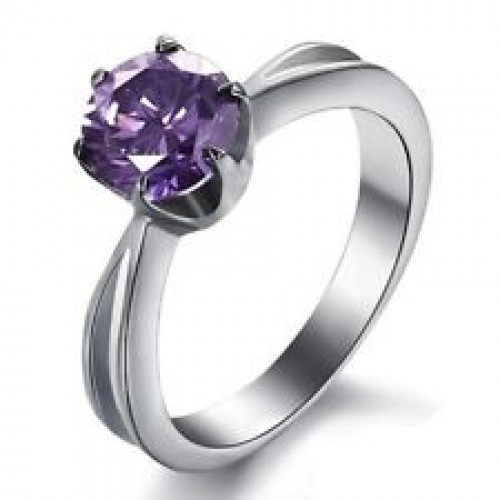 White Gold Plated Purpple Zarcoon Ring price in Pakistan Paras