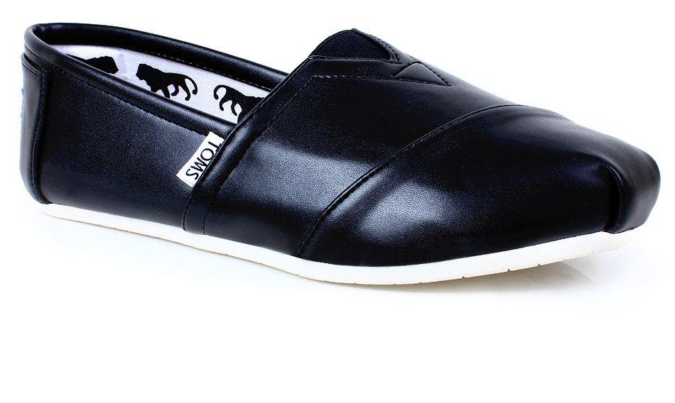 Toms Black Leather Casual Loafers SYB-1110