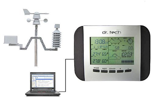 Dr. Tech Wireless Weather Station WA-1080PC-T with Solar Transmitter