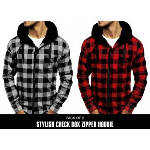 Pack of 2 Stylish Check Box Zipper Hoodie UD-102 price in Pakistan