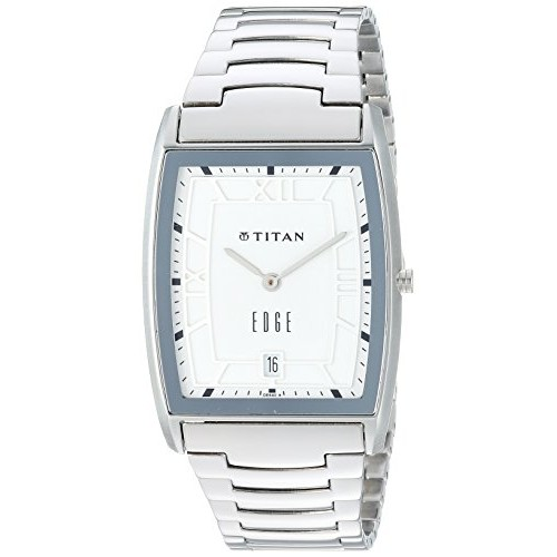 Image result for Titan 'Edge' Quartz Analogue White Dial Men's Watch - 1684Sm01