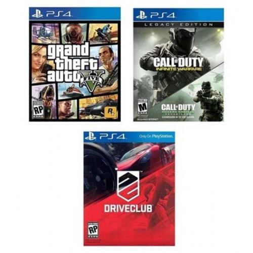 Sony Bundle Offer - GTA V, Call of Duty: Infinite Warfare - Legacy Edition,  Drive Club - PlayStation 4