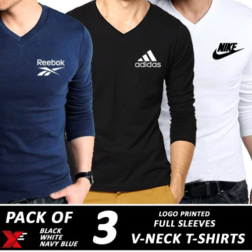 Pack of 3 V.Neck T-shirts Full Sleeves 010 price in Pakistan at ... cc7d06a70b03