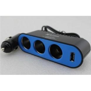 Car Power 3 Socket Adapter + USB Interfaced C302 price in Pakistan