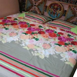 Grey Bedsheet with Flowers 09 price in Pakistan