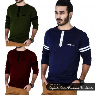 Pack of 3 Stylish Strip Contrast T-Shirts UD-100 price in Pakistan