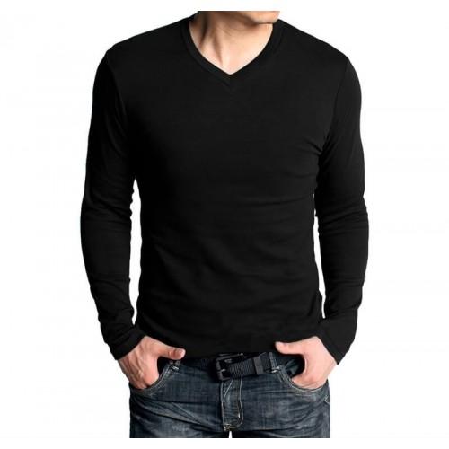 03e85fa371 Men Black V-Neck Full Sleeve Plain T-shirt price in Pakistan at ...
