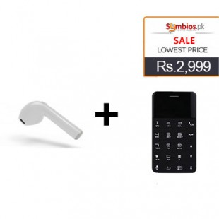 Deal 3 Anica A11 Mini Card Mobile Phone + HBQ-i7 Mini Wireless Bluetooth Earphones price in Pakistan