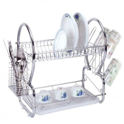 2 Layer Stainless Steel Dish Drainer