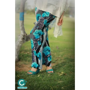 Floral Turquoise Black Plazo price in Pakistan