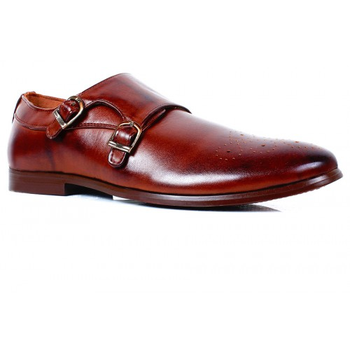 Moccasins Double Buckle Chocolate Brown Formal Shoes Syb 1072 Price