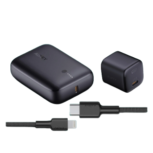 AUKEY On-the-go Bundle (Wall Charger, Powerbank, Cable) -Black price in Pakistan