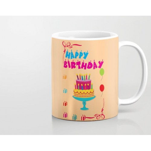 Happy Birthday Cake With Tray Art Printed Mug MUGBD82 Price In Pakistan At SymbiosPK