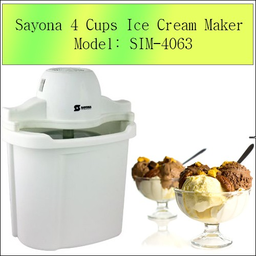 Sayona 4 Cups Ice Cream Maker Model: SIM-4063