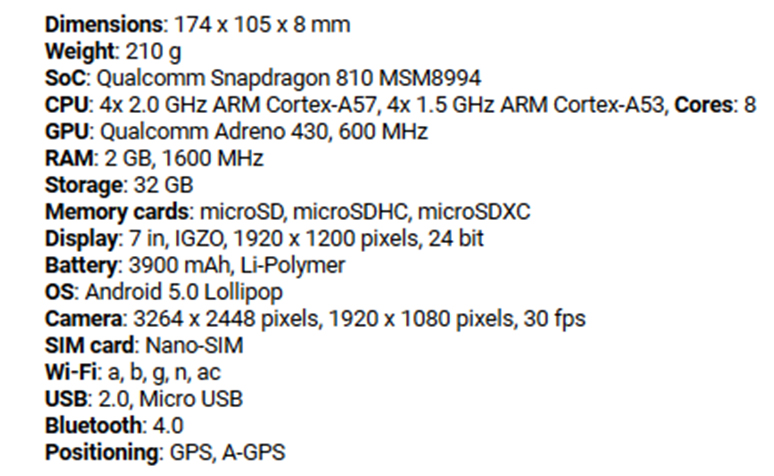 Sharp Aquos Pad SH-05G 2GB, 32GB Slightly Used